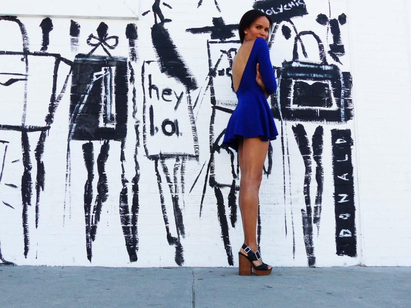 Amanda Garrigus in Electric Blue American Apparel Dress