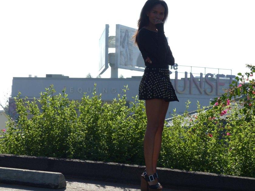 Amanda Garrigus in Studed Mini Skirt on Sunset