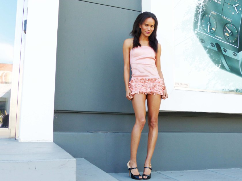 Amanda Garrigus in Valentino Shoes and Pink Forever 21 Dress