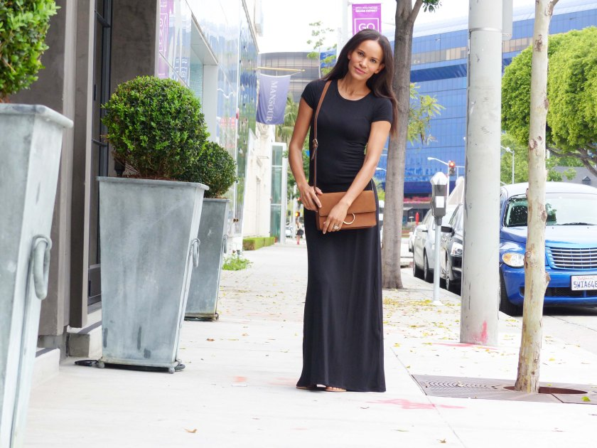 Amanda Garrigus Black Maxi Dress and tan crossbody