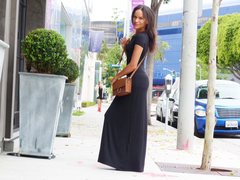 Amanda Garrigus Black Maxi T-shirt Dress