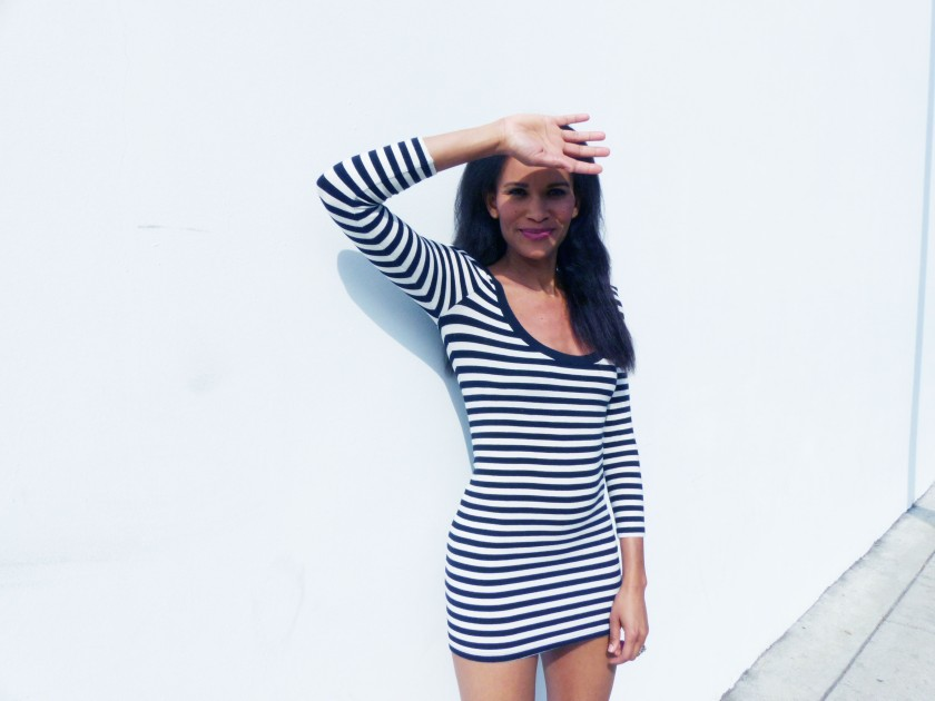 Amanda Garrigus in a Striped mini dress 1