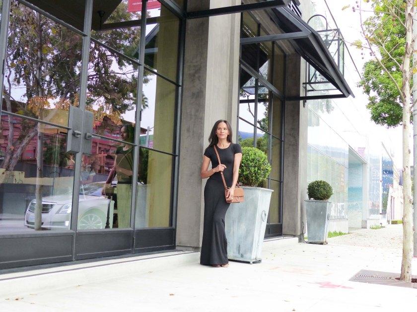 Amanda Garrigus long black dress