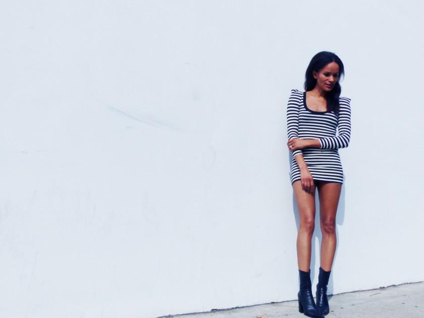 Amanda Garrigus Striped mini dress 1
