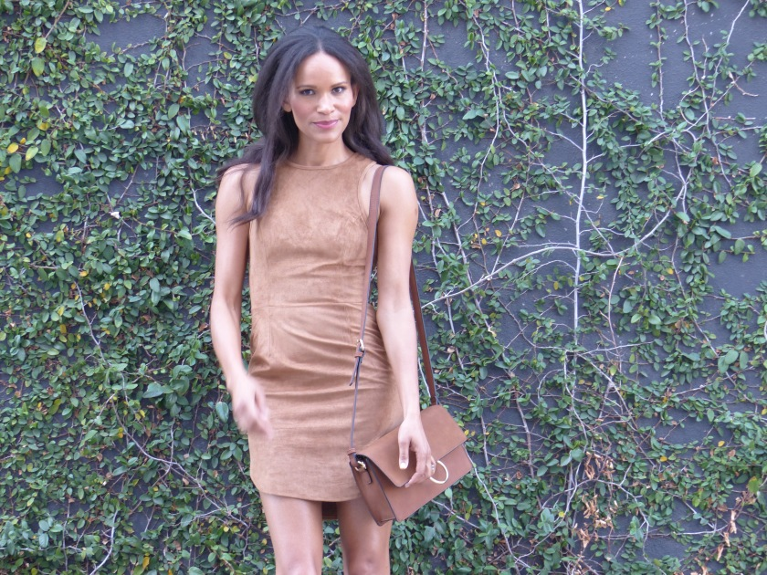 Amanda Garrigus Ultra Suede Dress and bag Coachella