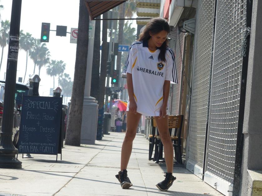 Amanda Garrigus wearing David Beckham's jersey