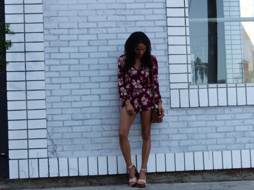 Amanda Luttrell Garrigus Forever 21 floral Romper and Blush Sandal