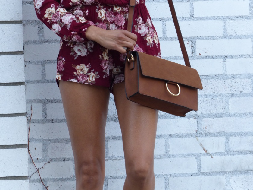 Amanda Luttrell Garrigus Forever 21 Romper and Crossbody bag