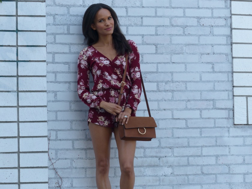 Amanda Luttrell Garrigus Forever 21 Romper and tan crossbody