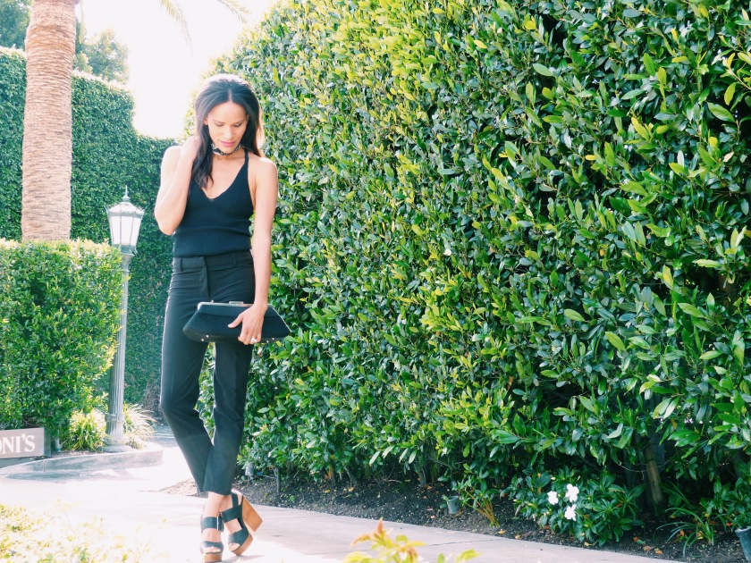 Amanda Luttrell Garrigus in black capri pants