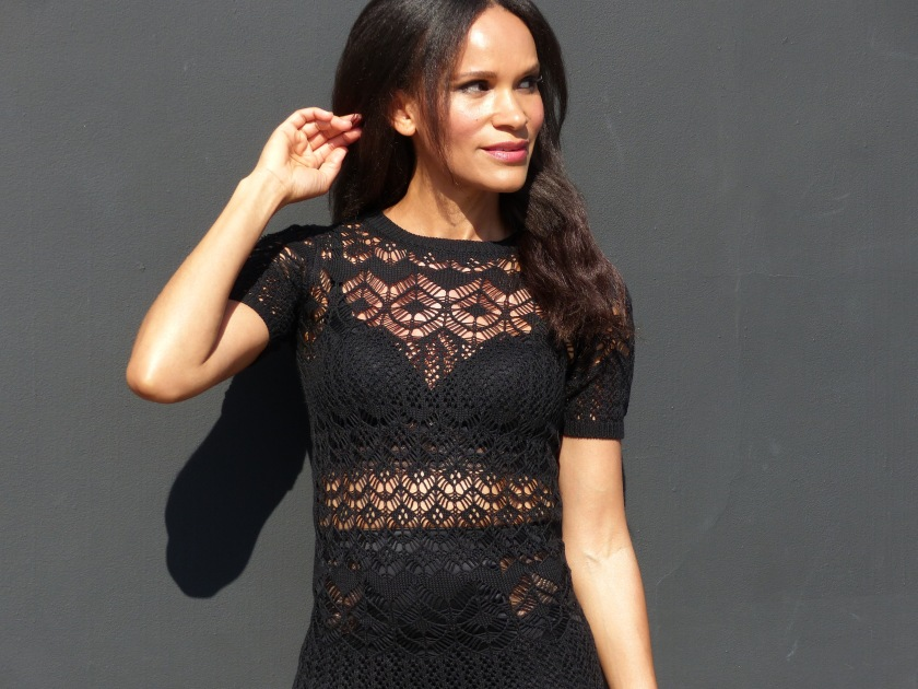 Amanda Luttrell Garrigus in black knit body con sheer dress