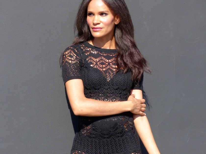 Amanda Luttrell Garrigus in knit sheer dress