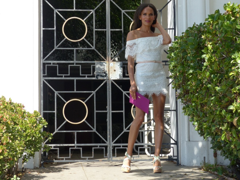 Amanda Luttrell Garrigus white lace off the shoulder dress and cork sandal