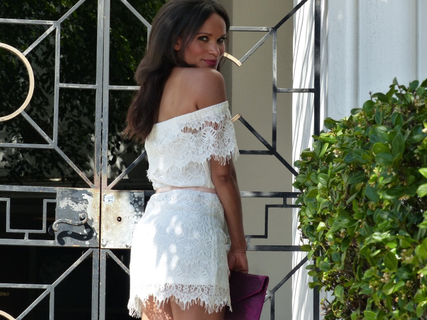 Amanda Luttrell Garrigus white lace off the shoulder dress
