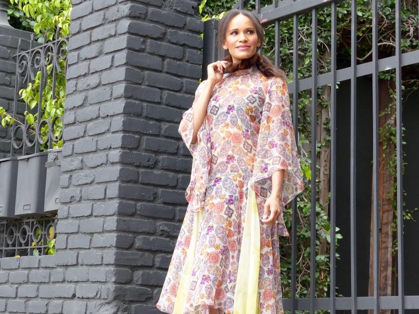 Amanda Garrigus wearing a Cornell Collins silk chiffon print dress