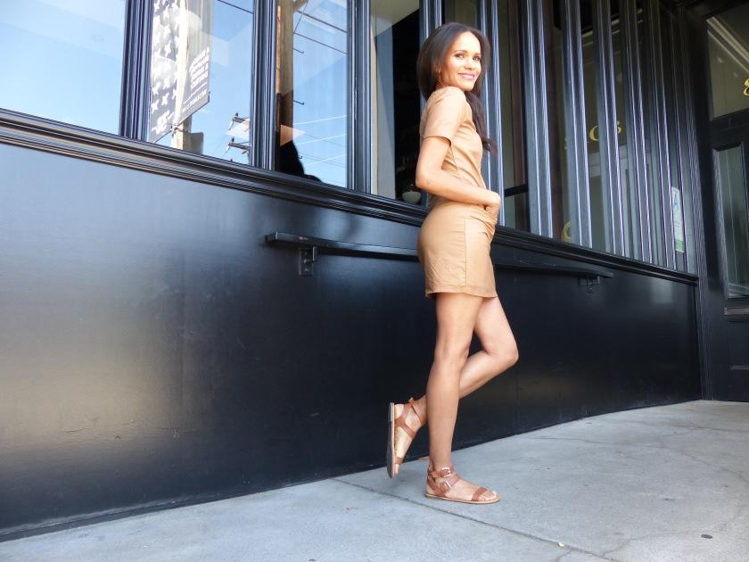 Amanda Garrigus wearing a nude leather dress