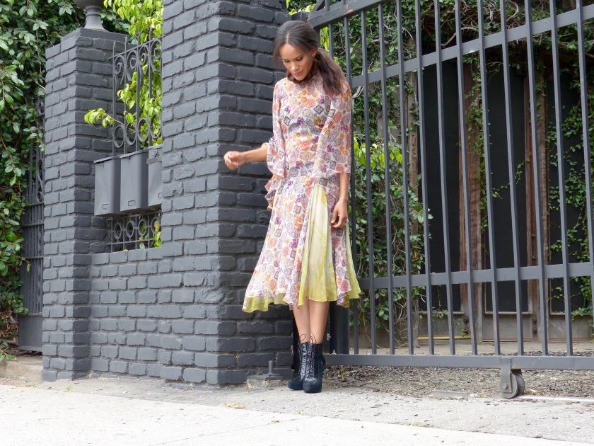 Amanda Luttrell Garrigus wearing a Cornell Collins silk chiffon print dress and a granny boot