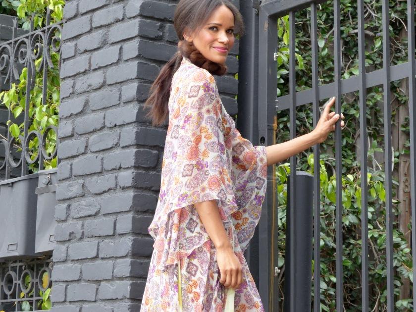 Amanda Luttrell Garrigus wearing a Cornell Collins silk chiffon print dress