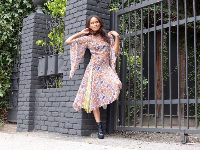 Amanda Luttrell Garrigus wearing a Cornell Collins silk chiffon print midi dress
