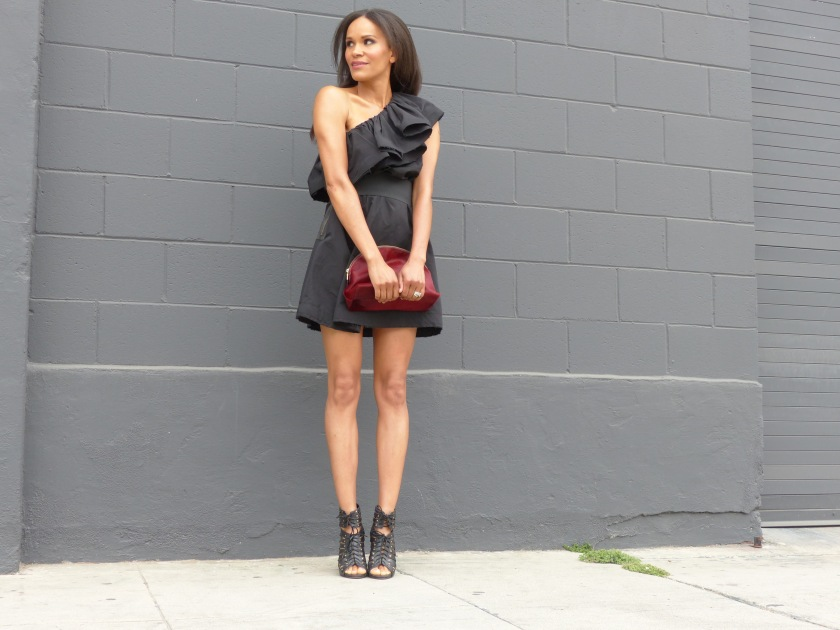 Amanda Luttrell Garrigus wearing black one shoulder Lanvin for H&M dress