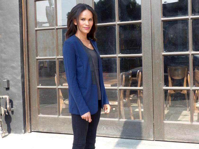 Amanda Garrigus wearing a Forever 21 Blue Tuxedo jacket