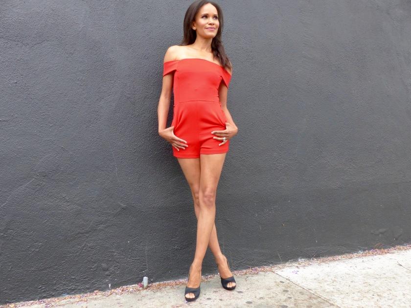 Amanda Luttrell Garrigus in a Red Romper