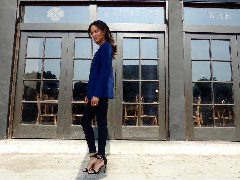 Amanda Luttrell Garrigus wearing a Forever 21 Blue Tuxedo jacke