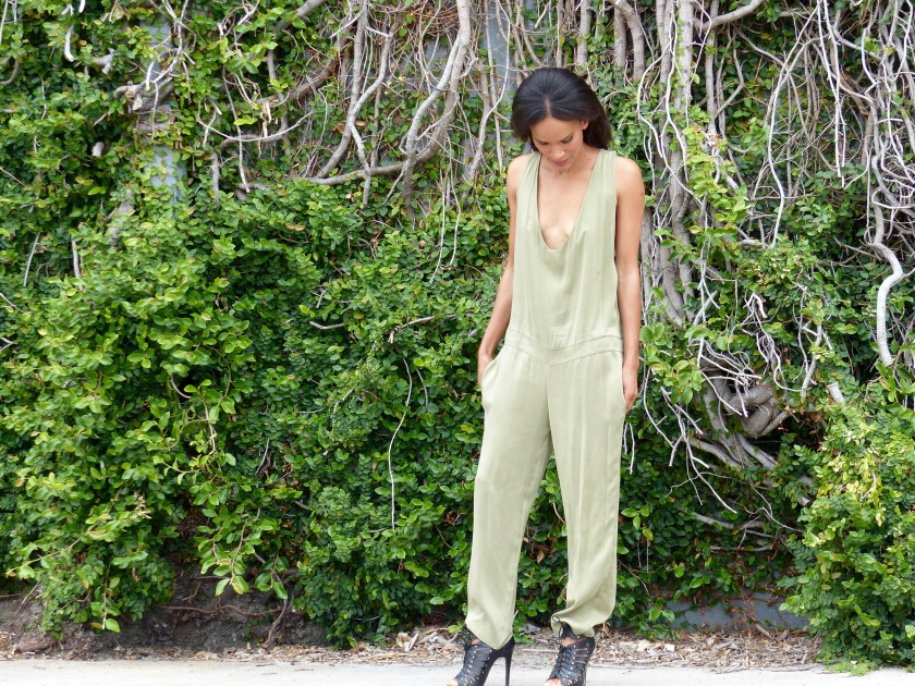 Amanda Luttrell Garrigus wearing a pale green silk jumpsuit