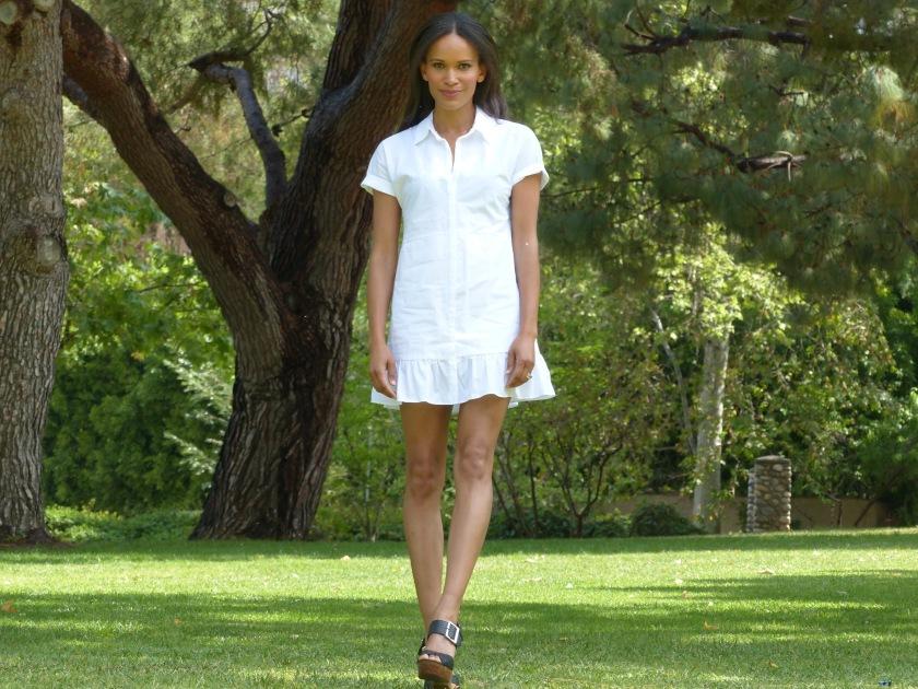 Amanda Luttrell Garrigus wearing a white cotton Zara dress