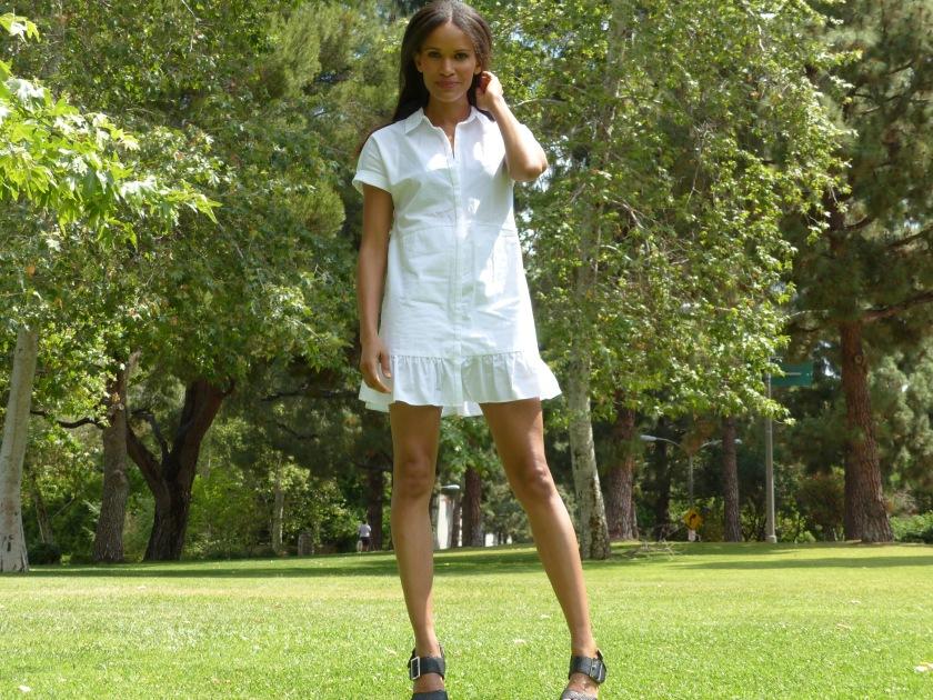 Amanda Luttrell Garrigus wearing a white Zara cotton dress