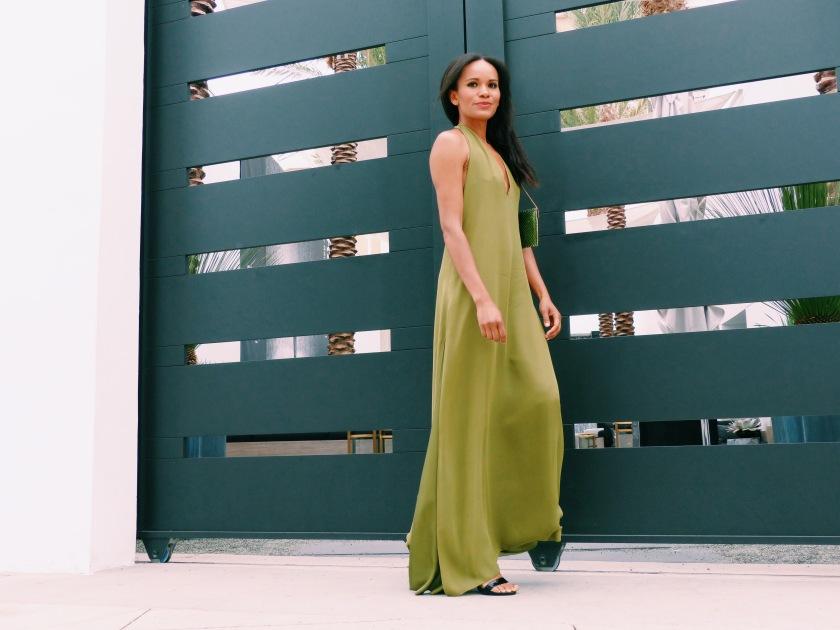 Amanda Garrigus wearing an Octavio Carlin long silk dress