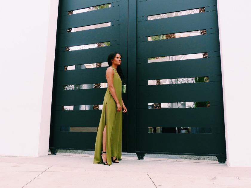 Amanda Garrigus in a long dress with high slit
