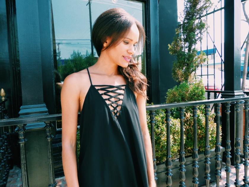 Amanda Luttrell Garrigus in a black summer weight dress