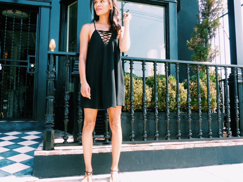Amanda Garrigus in a black summer Forever 21 lattice front dress