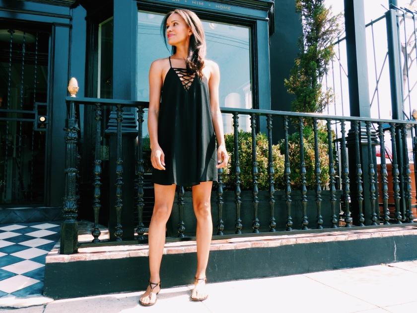 Amanda Garrigus in a black summer weight dress