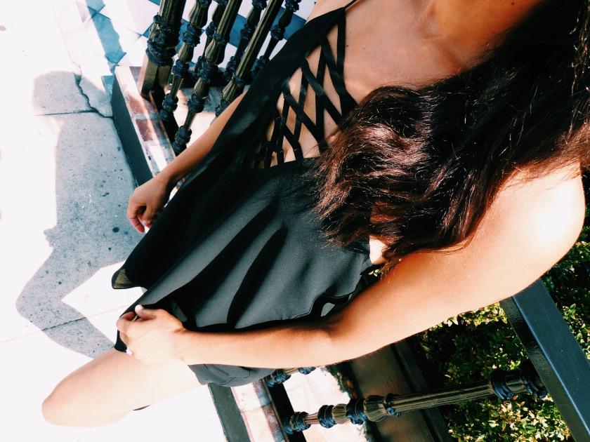 Amanda Luttrell Garrigus in a black summer Forever 21 lattice front dress