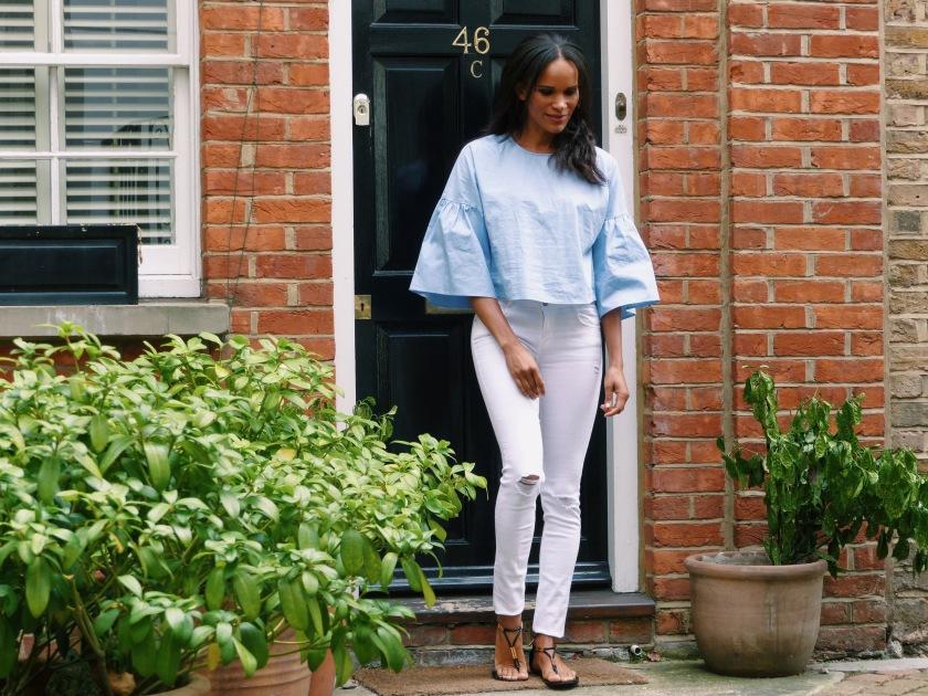 Amanda Garrigus in London's Chelsea wearing Zara top and jeans