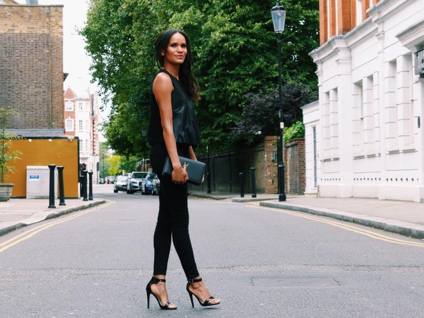 Amanda Garrigus in Zara and YSL in London