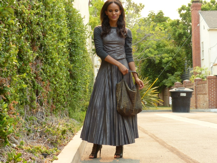 Amanda Luttrell Garrigus in a Kevan Hall pleated grey skirt
