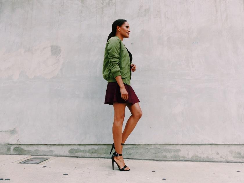 Amanda Garrigus wearing a bomber jacket in Los Angeles