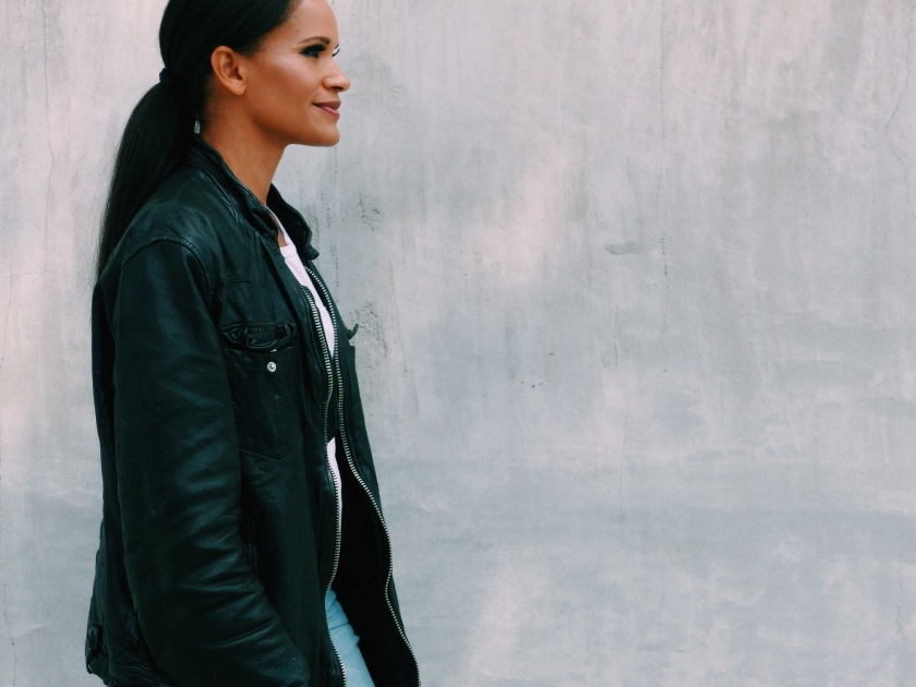 Amanda Luttrell Garrigus in an oversized leather All Saints Jacket