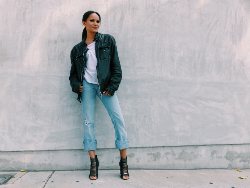 Amanda Luttrell Garrigus wearing a leather All Saints Jacket