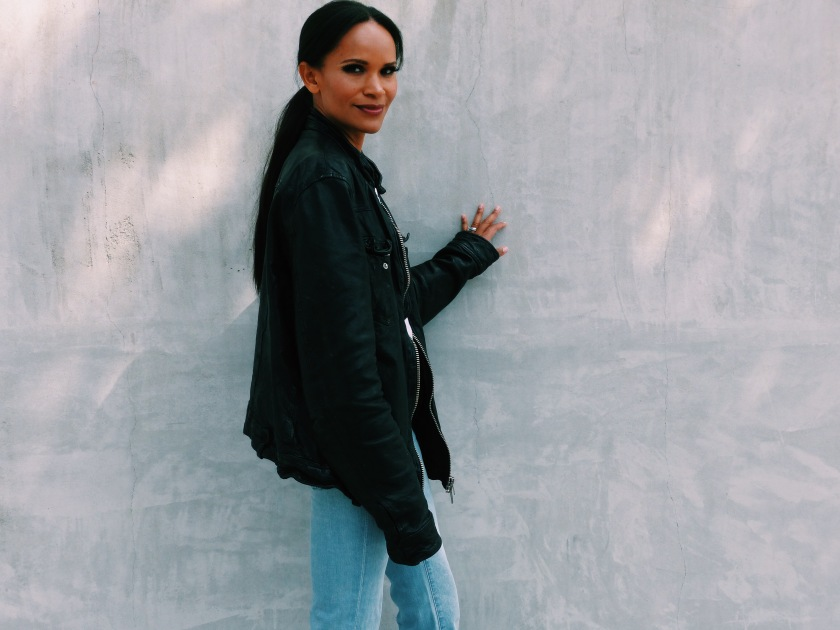 Amanda Luttrell Garrigus wearing an oversized leather All Saints Jacket