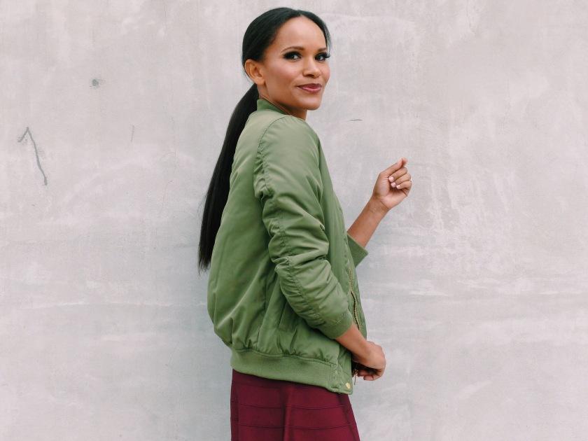 Amanda Luttrell Garrigus wearing a bomber jacket from Zara