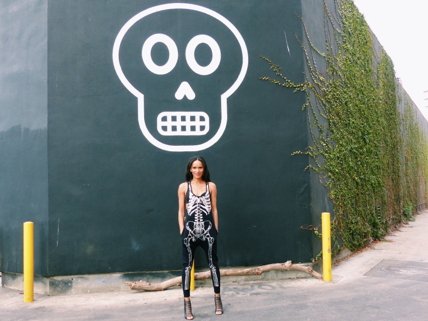 Amanda Luttrell Garrigus wearing a ModCloth skeleton jumpsuit