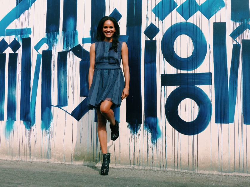 Amanda Garrigus wearing a blue tea dress by Diabless and boots by alice and olivia