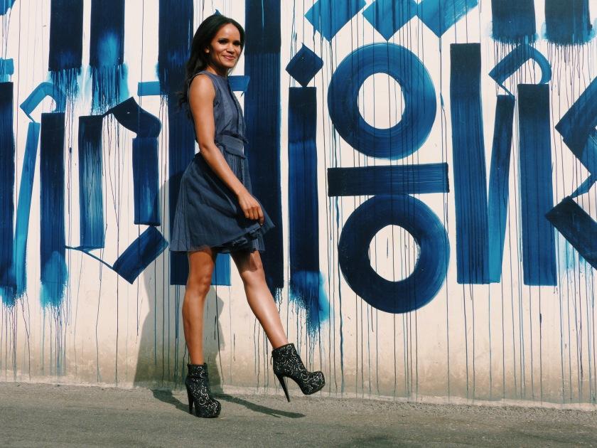 Amanda Garrigus wearing a blue tea dress