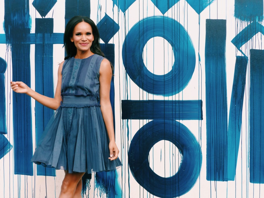 Amanda Garrigus wearing a blue tea dress by Diabless