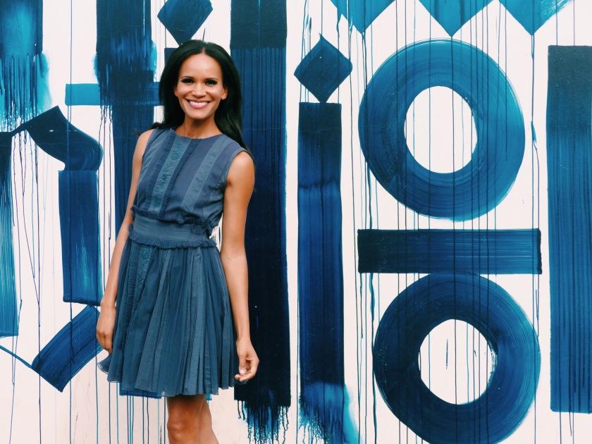 Amanda Luttrell Garrigus in a blue tea dress
