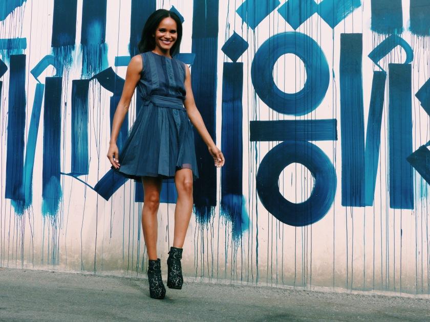 Amanda Luttrell Garrigus wearing a blue tea dress